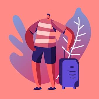 Туристический человек в летней одежде с чемоданом, путешествующий за границу в отпуск. мультфильм плоский иллюстрация