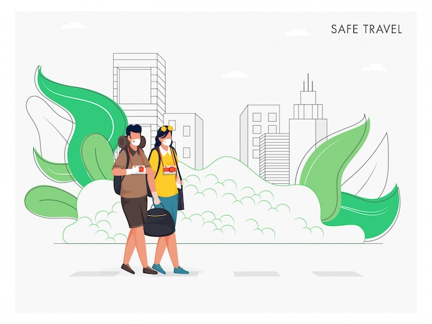 Tourist man and woman wear protective mask with bag and camera on line art buildings white background for safe travel concept.