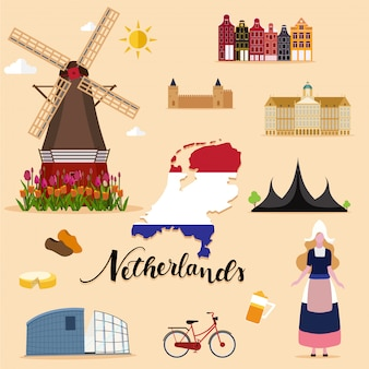 Tourist netherlands travel set collection