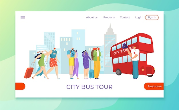 Tourist people travel by excursion tour bus, flat holiday trip tourism illustration