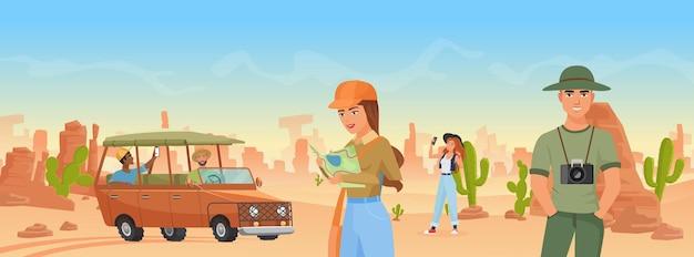Туристы путешествуют по пустынному ландшафту дикого запада аризоны, фотографируют дикую природу.