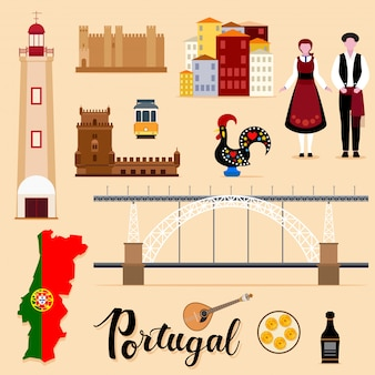 Tourist portugal travel set collection