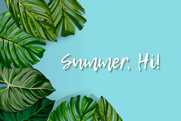Tourist poster with a round frame with the text hi summer and realistic leaves of a tropical monstera on a black background.