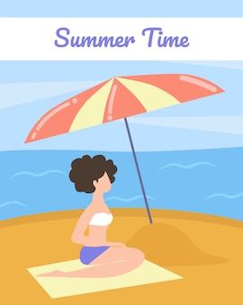 Tourist poster with words summer time cartoon