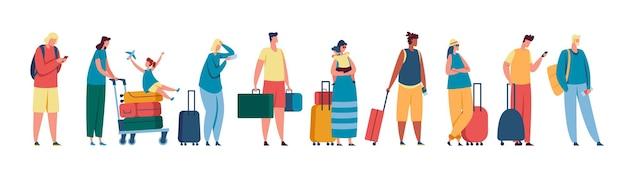 관광객 대기열 공항 체크인 터미널 등록 데스크에서 줄을 서 있는 남녀