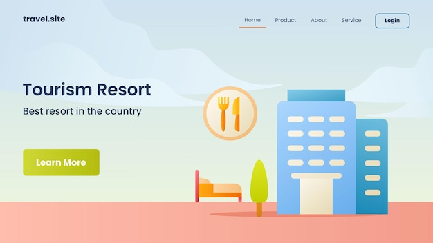 Tourist resort campaign for web website home homepage landing