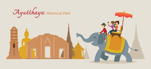 Туристическая поездка на слоне в историческом парке аюттхая, таиланд