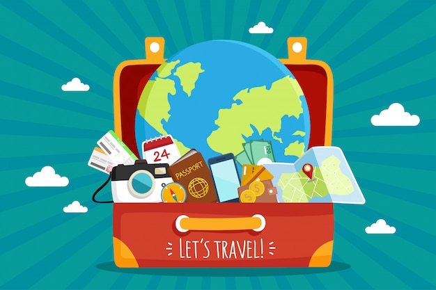 Tourist set travel around the world.