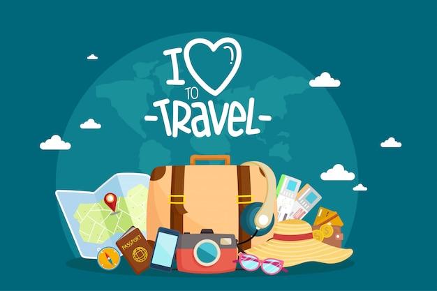 Tourist set travel around the world.