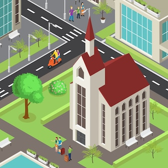 Tourist sightseeing isometric