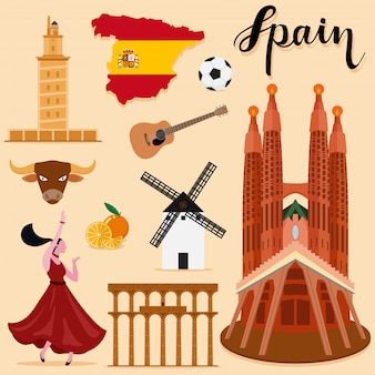 Tourist spain travel set collection