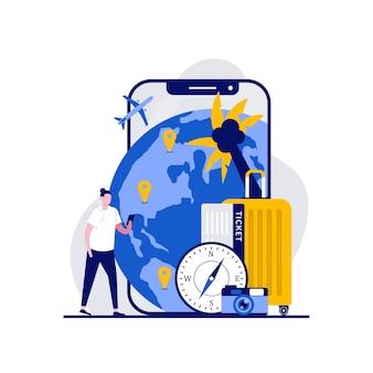 イラスト付きのナビゲーションアプリでスマートフォンの近くに立っている観光客