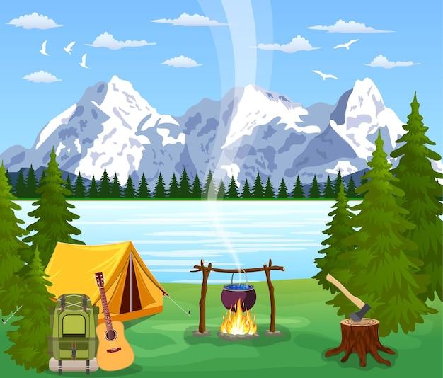 관광 텐트와 녹색 초원, 흐린 하늘에 산. 여름 캠핑. 자연 벡터 풍경입니다. 평면 디자인의 벡터 일러스트 레이션