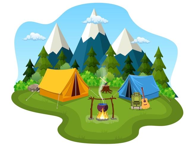달과 별 아래 관광 텐트