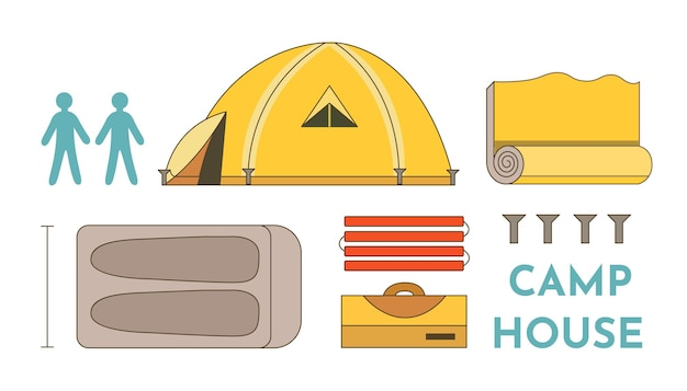 Tourist tent vector collection. camp house set of objects isolated on white background. camp equipment.