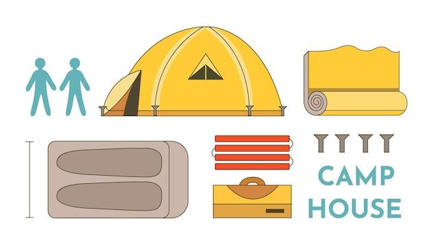 관광 텐트 벡터 컬렉션입니다. 캠프 하우스 흰색 배경에 고립 된 개체 집합입니다. 캠프 장비.