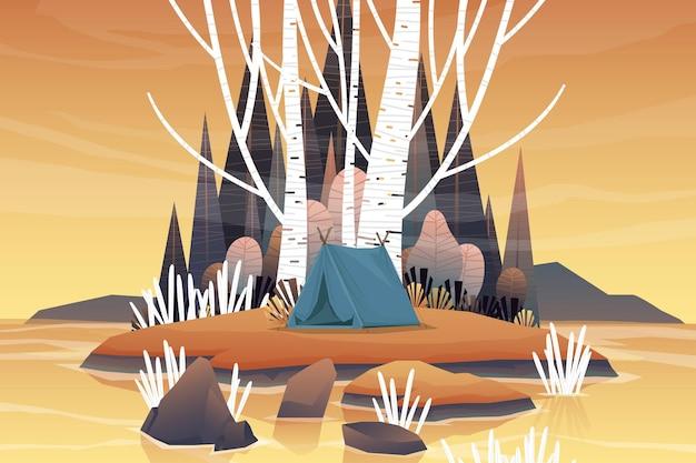 森林地帯と朝の日の出でキャンプする観光テント、湖と丘のある風景の自然の背景、水平サマーキャンプのコンセプト