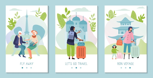 Tourist travel abroad, sightseeing tour banner concept, landmarks of different countries, illustration