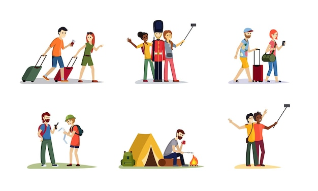 Tourist travel and hiking set. man and woman walk with bags and tickets take selfie with british guardsman have lunch campfire near tent orienteer using map. vector cartoon lifestyle.