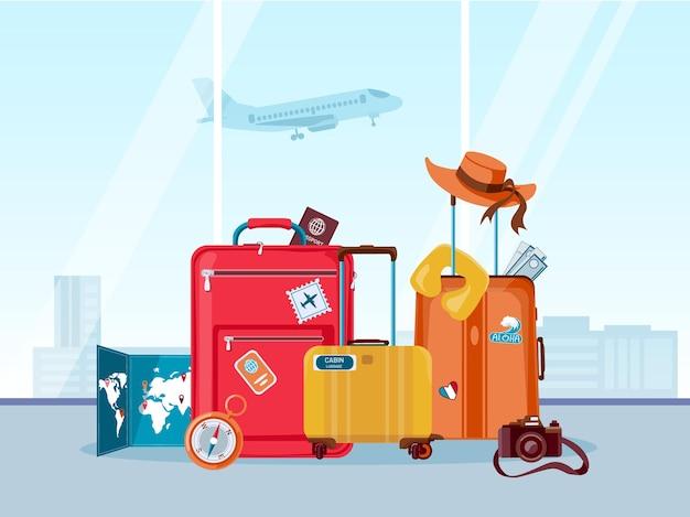 Чемоданы туристические. багаж и сумки с картой, фотоаппаратом и летней шляпой в аэропорту. туристическое агентство, приключения и отпуск вектор концепции. иллюстрация багажа и дорожного багажа