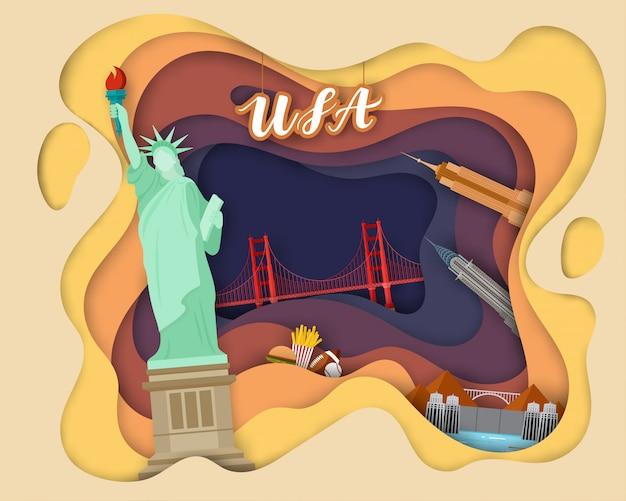 Tourist travel usaの紙カットデザイン