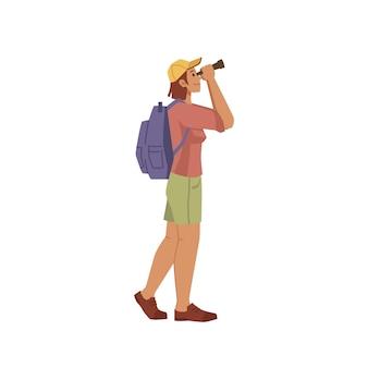 Туристический путешественник смотрит в бинокль мультипликационный человек