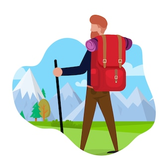 Tourist travels to mountains vector illustration.