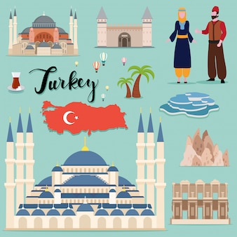 Tourist turkey travel set collection