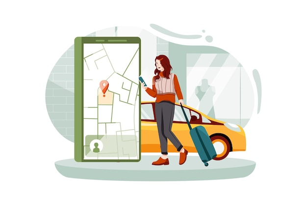 Турист с чемоданом использует мобильное приложение для заказа автомобиля, чтобы заказать автомобиль