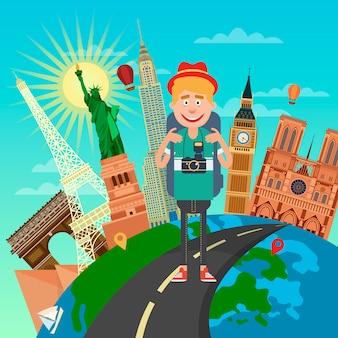 Турист с рюкзаком и камерой путешествует по всемирно известным местам.