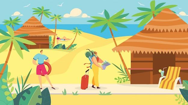 Туристическая женщина прибывает на морской курорт, летние каникулы путешествие, люди иллюстрация