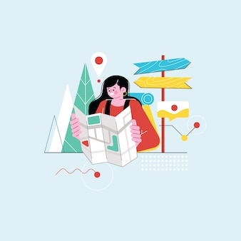Туристическая женщина, глядя на карту иллюстрации Premium векторы