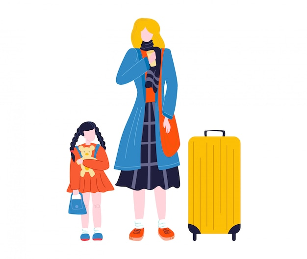 Tourist woman walking with suitcase baggage in airport traveling, journey isolated on white flat   illustration.