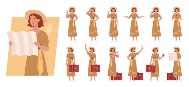 荷物文字セットを持つ観光女性。さまざまなポーズや感情。