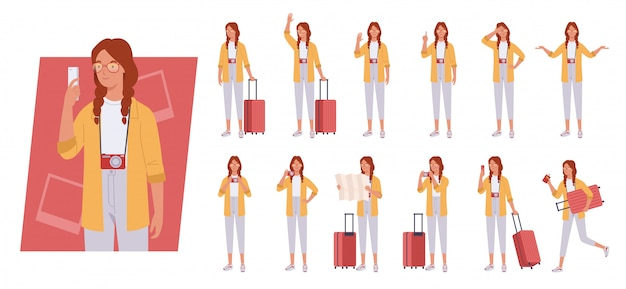 Tourist woman with luggage character set. different poses and emotions.