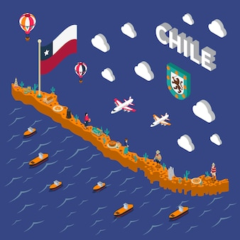 Touristic attractions symbols isometric chile map