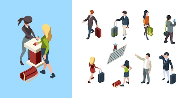 Touristic persons family couples businessman with bag 3d luggage characters.