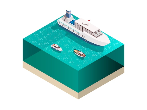 Touristic ships isometric composition