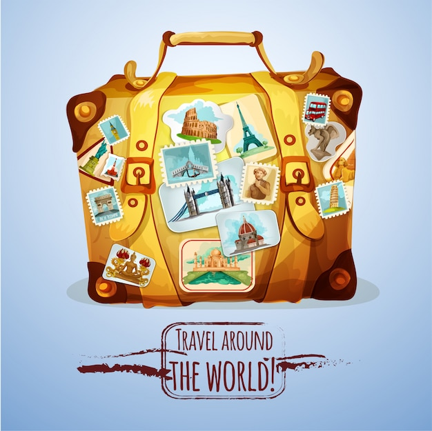 Touristic suitcase with stamps