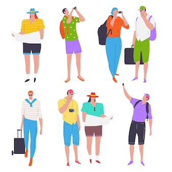 Набор персонажей мультфильмов туристов и путешественников.