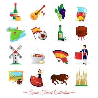 Tourists attractions in spain and national cultural symbols wine and food flat icons collection
