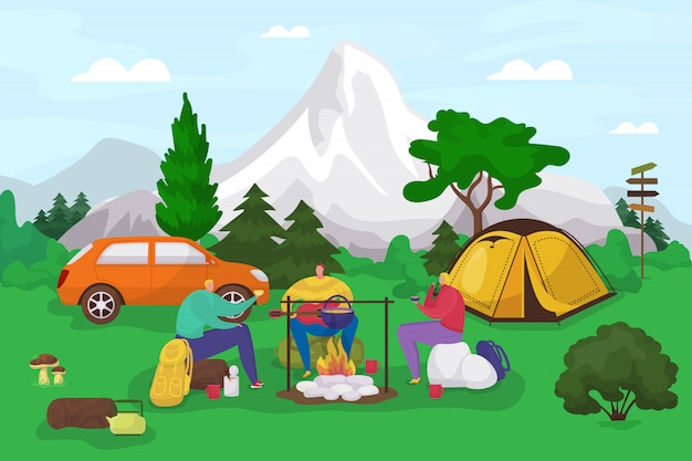 Tourists in camp, summer hiking, tourists people eating, resting before fireplace camping, travel vacation expedition   illustration. tent, backpacks and camping place in mountain adventure.