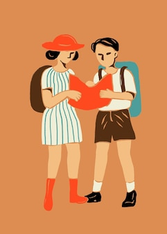 Adesivo cartone animato turisti in tema itinerante