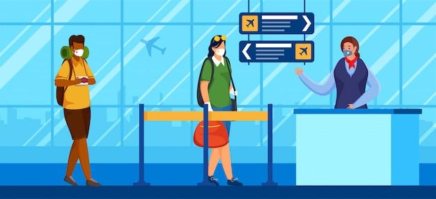 観光客のキャラクターは、空港の受付カウンターの前で保護マスクを着用し、社会的距離を維持してコロナウイルスを防ぎます。