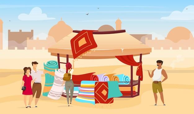 Туристы выбирают персидские коврики плоской иллюстрации