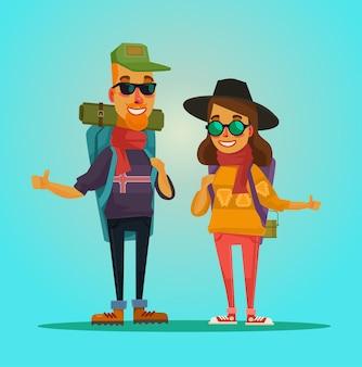 Tourists couple cartoon illustration