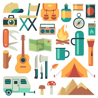 Tourists equipment and travel accessories vector set. forest camping and hiking flat elements. equipment for hiking outdoor adventure, camp and backpack illustration