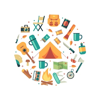 Tourists equipment, travel and hiking accessories composition round concept