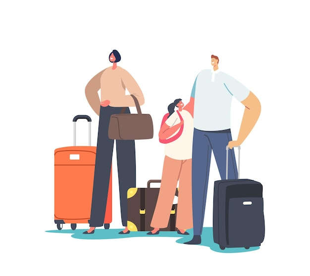 Tourists family characters with child holding suit cases. people traveling abroad on vacation, legal immigration, world migration, exotic country trip, summertime journey. cartoon vector illustration