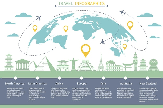 Tourists flight travel infographics with world map and landmarks icons.